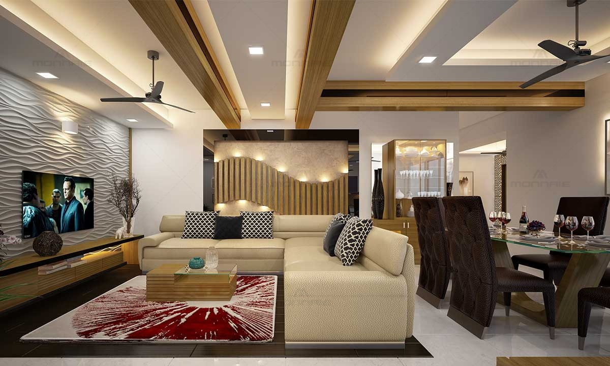 Contemporary Decor For Living & Dining Room - Top Home Interiors in Kerala