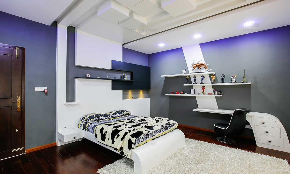 Bedroom Interiors With False Celling & Color Theme