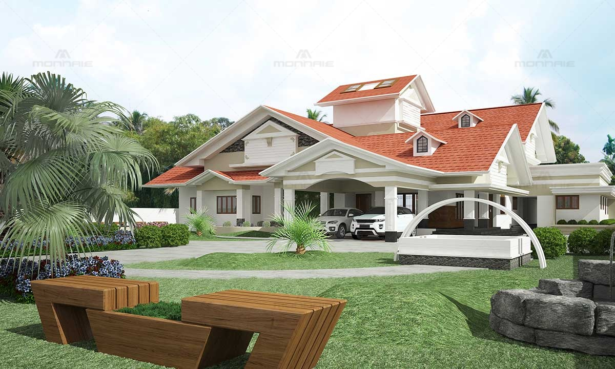 Blend of Traditional & Contemporary Architecture Style Home Design