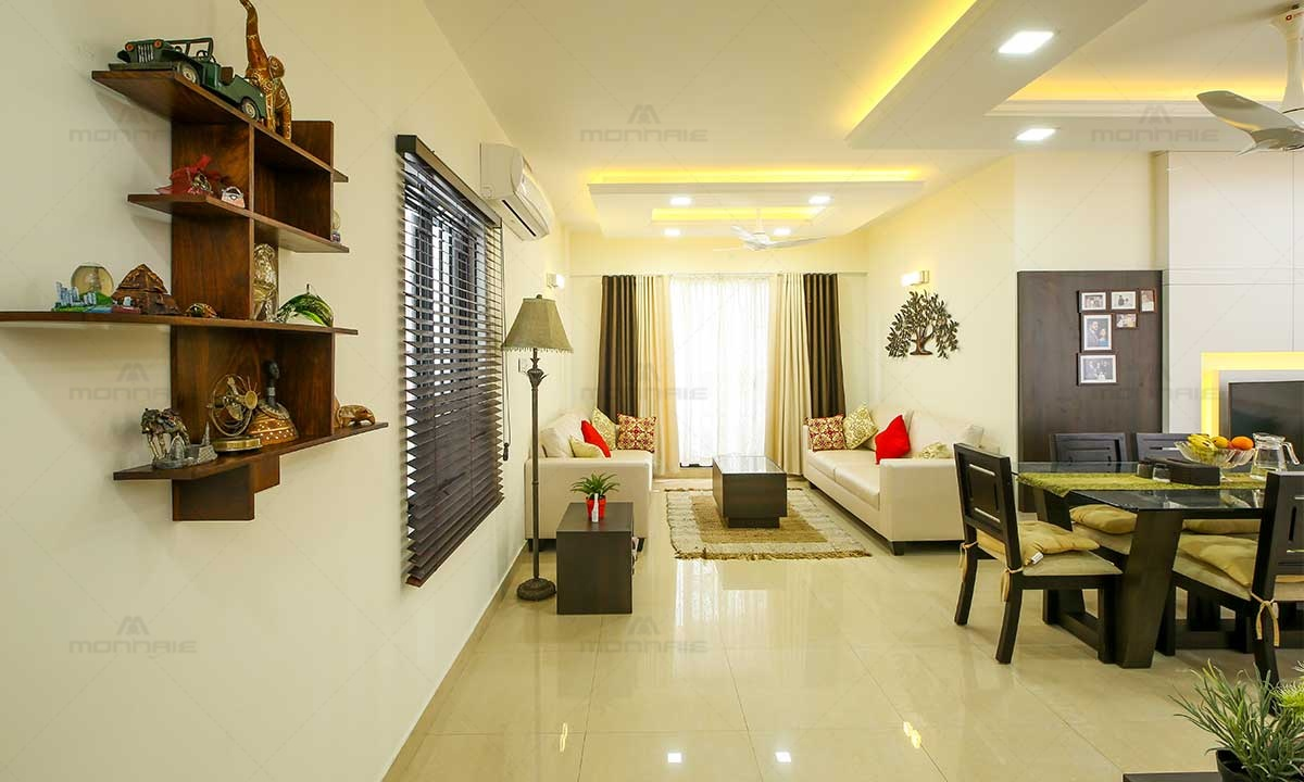 Contemporary & Indian Style Living Room Design - Best Home Designers In Kochi