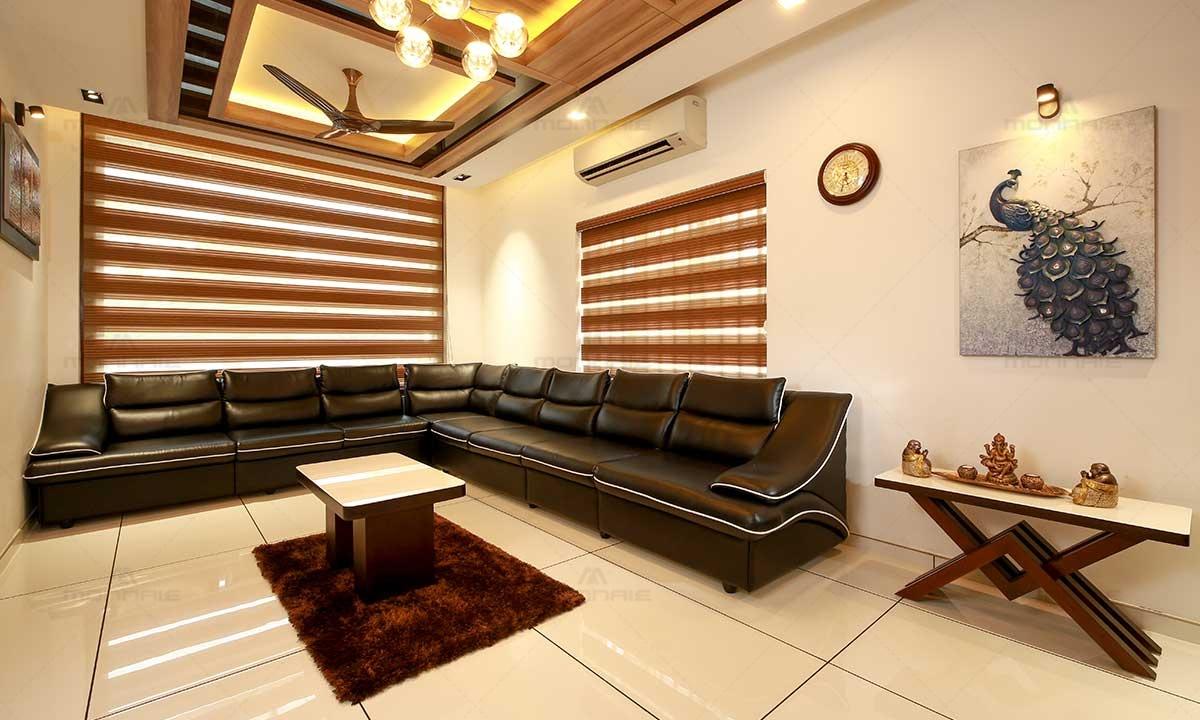 Living Room Wall Decor & False Ceiling - Monnaie Architects