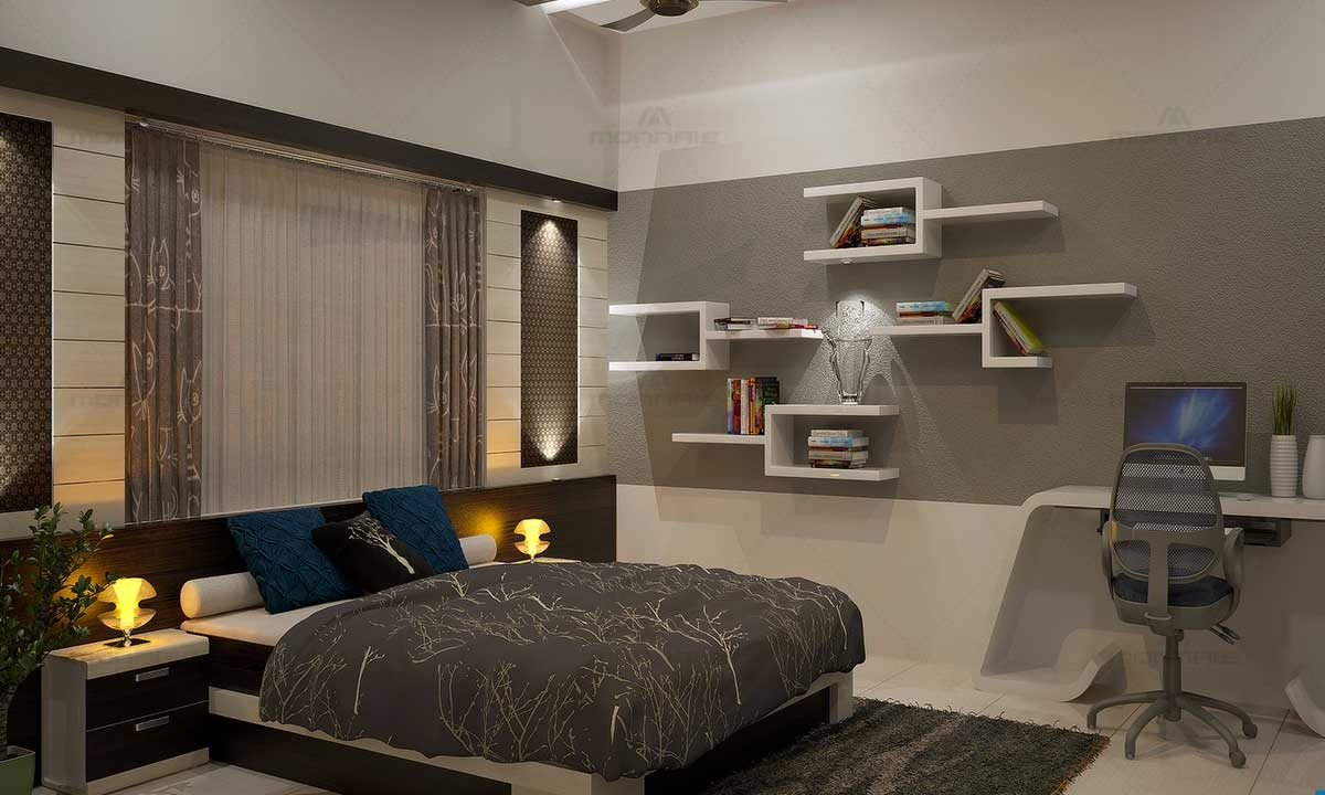 Modern Bedroom Interior Design, Wall Shelves, Colors Ideas