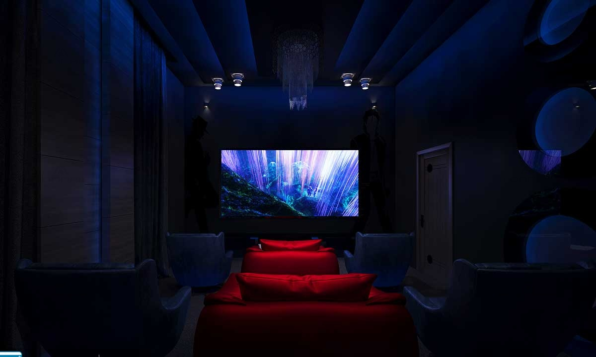 Simple Home Theater Design Plans - Monnaie Architects & Interiors Kochi