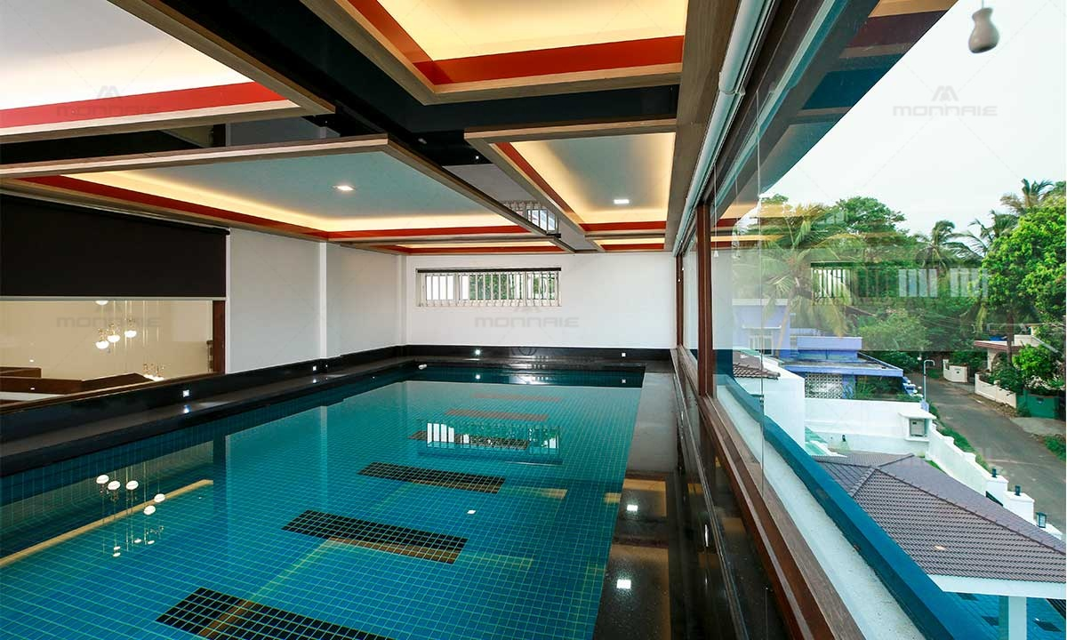 Swimming Pool Design For Home - Monnaie Interiors, Palakkad
