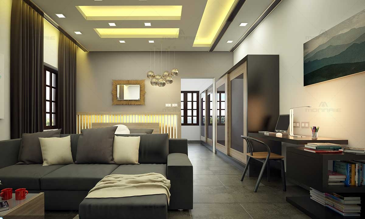 Upper Living Room Design & False Ceiling Ideas - Best Home Designers In Kochi