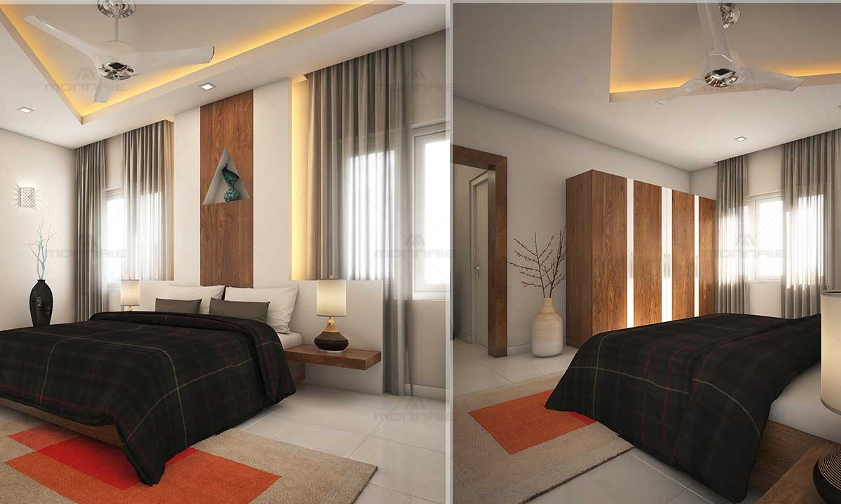 Bedroom Interiors & False Ceiling Picture - Architects In Kochi