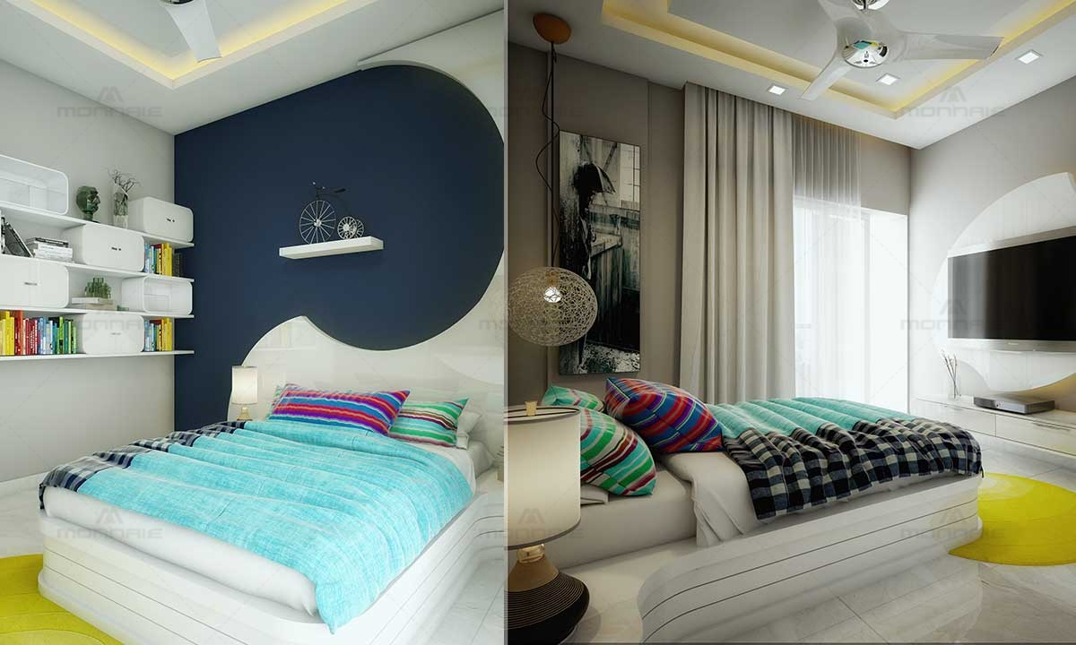 Bedroom Interiors Wall color & Shelves
