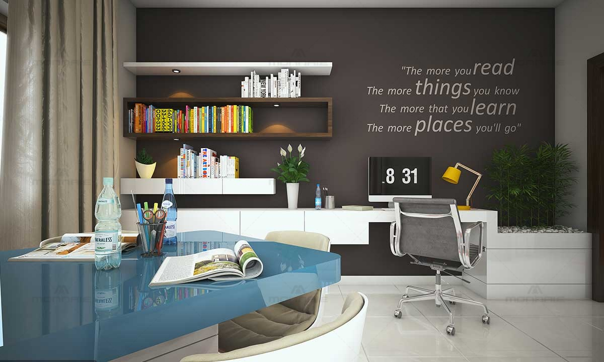 Home Office Room Interiors With Wall Quotes By Monnaie Developers