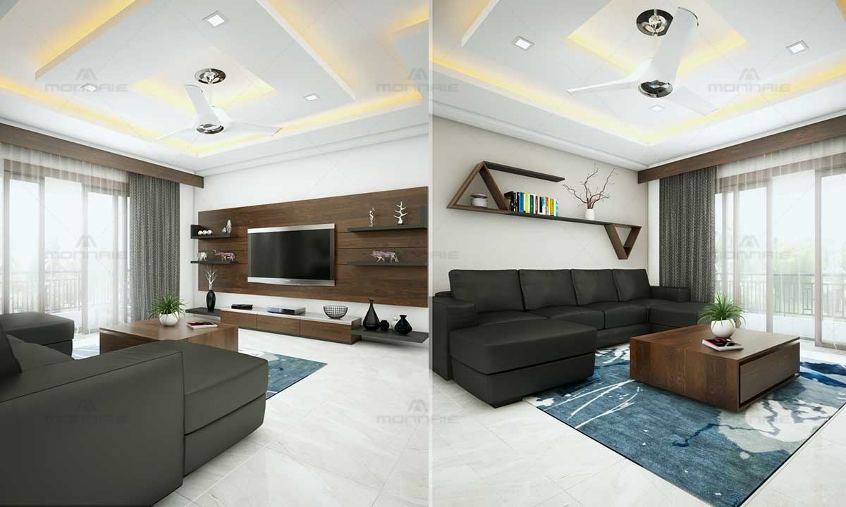 Contemporary Minimalistic Living Room Plan - Monnaie Interiors