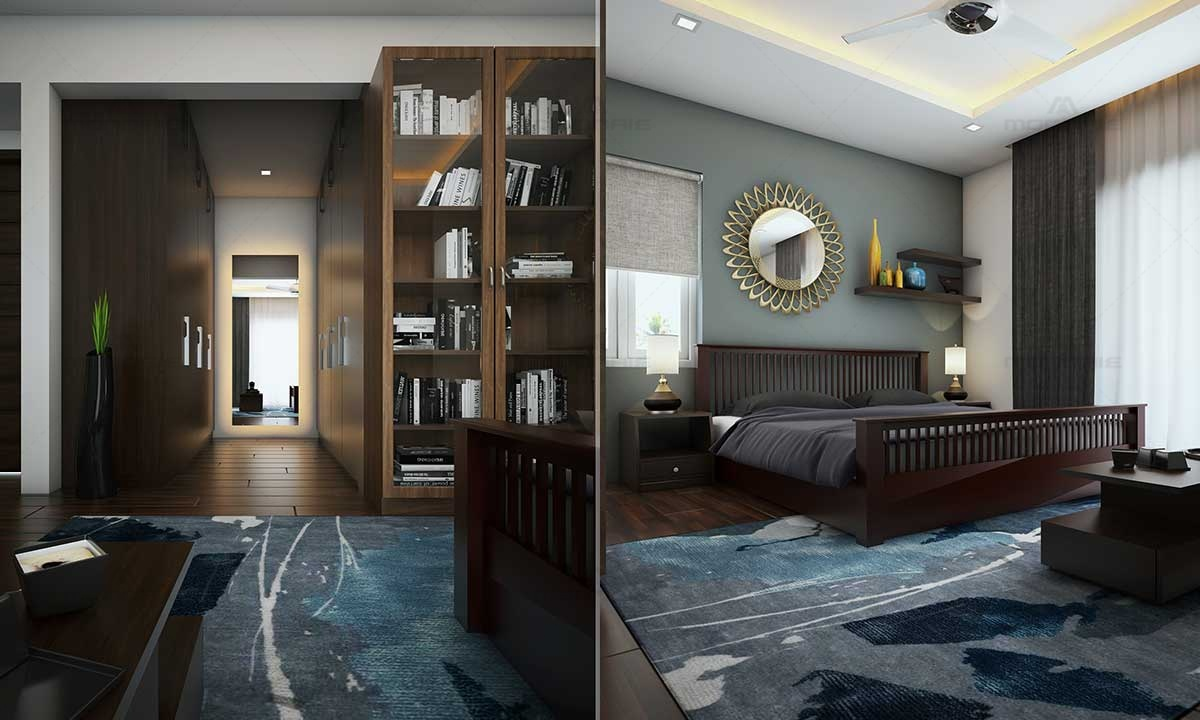 Contemporary Minimalistic Style Bedroom Design - Architects In Kerala