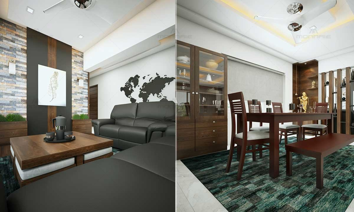 Dining & Living Room Interiors - Best Home Designers In Kerala