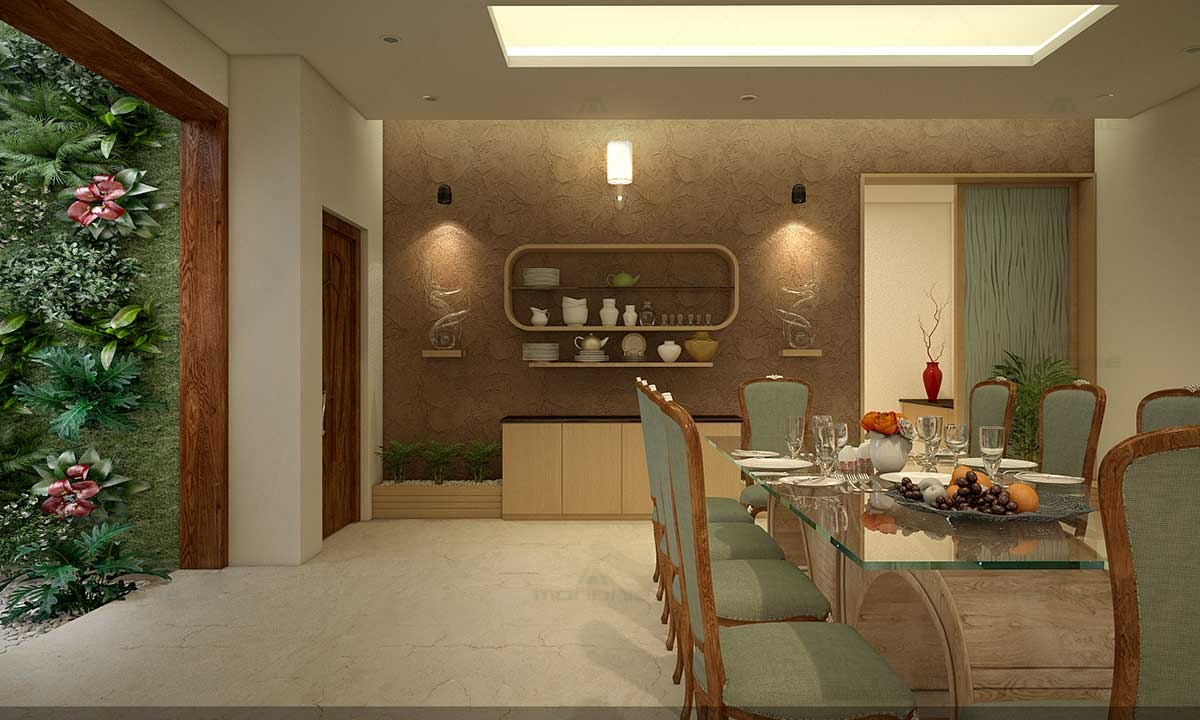 Dining Room Interiors Sets & Wall Shelves Designs