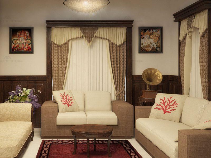 kerala traditional living room design ideas - Monnaie Architects & Interiors