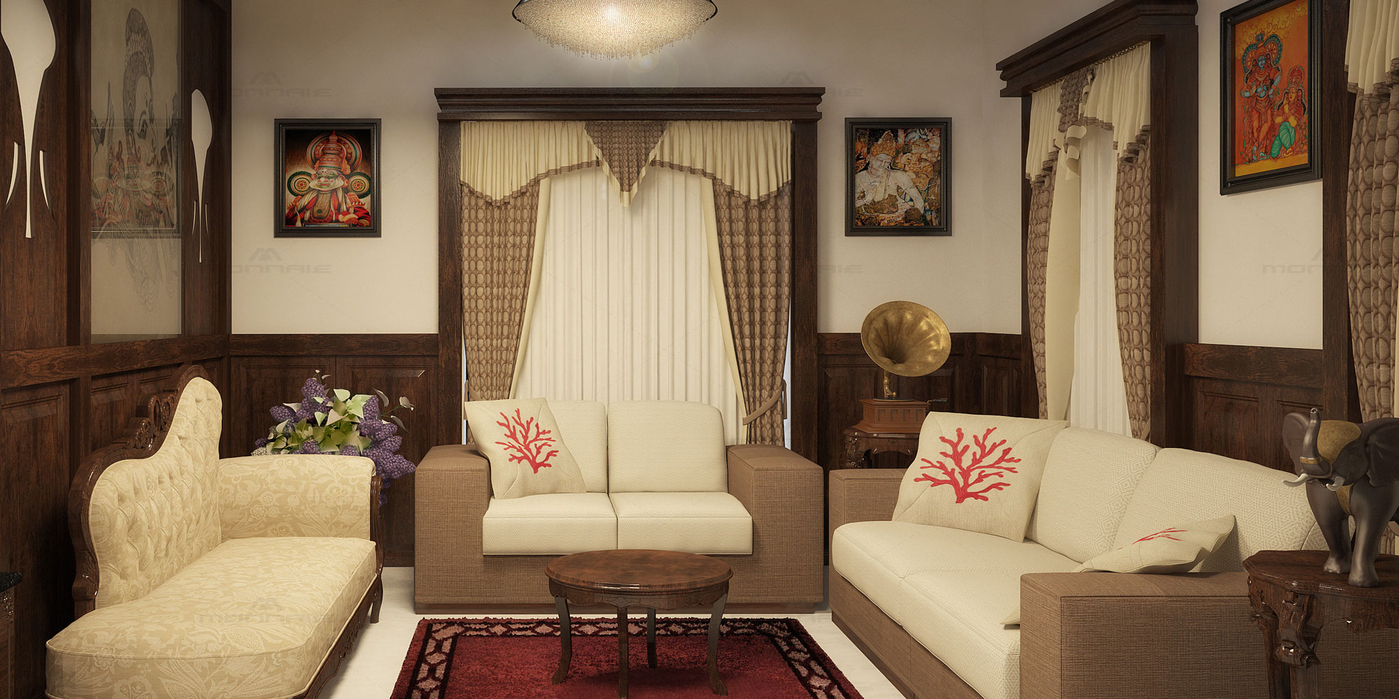 kerala traditional living room design ideas - Monnaie Architects & Interiors