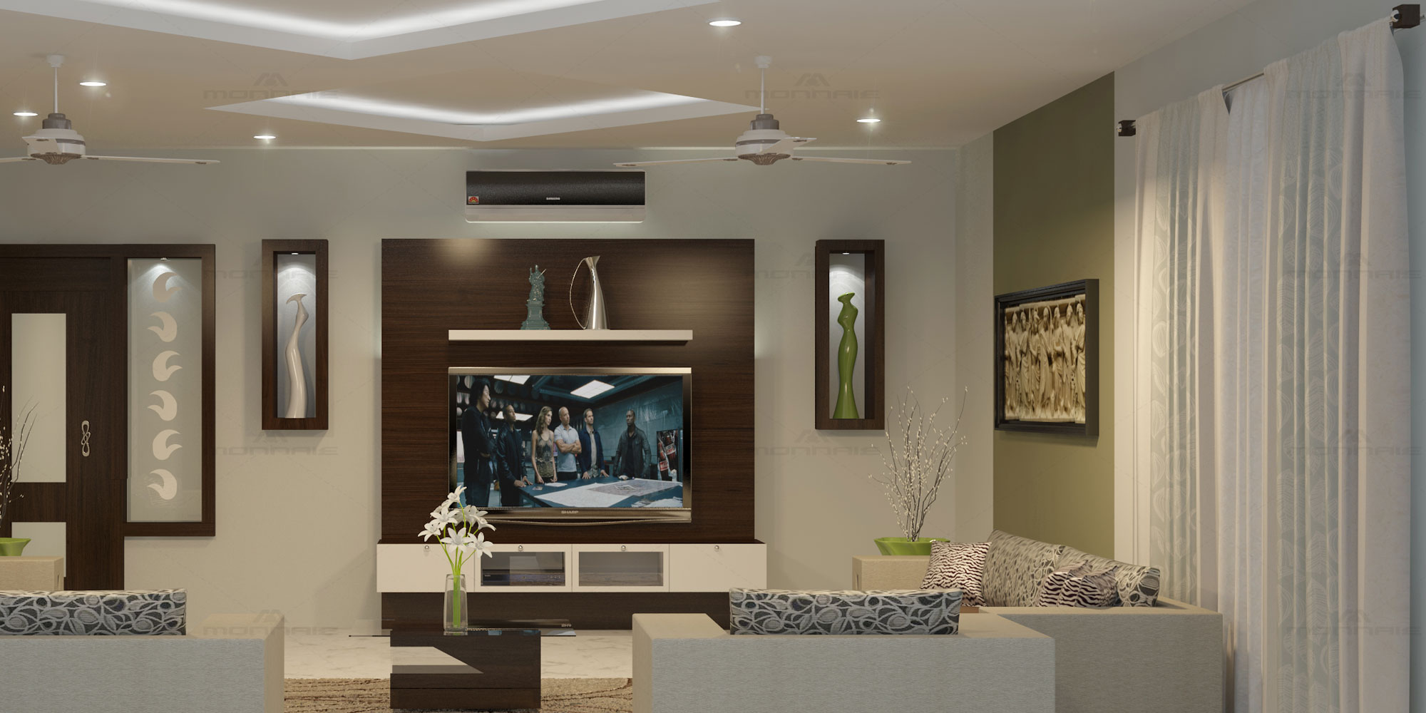 Living room interior & decoration in kerala