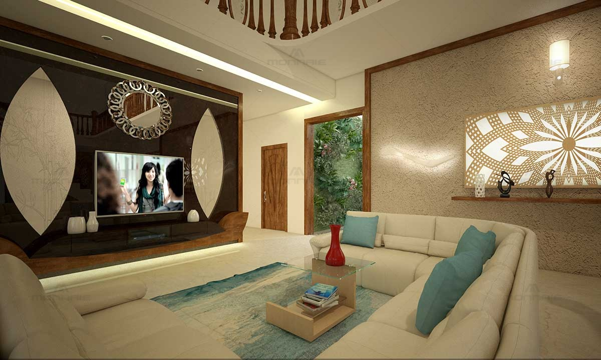 Living Room Interior Wall Designs - Monnaie Architects Kerala