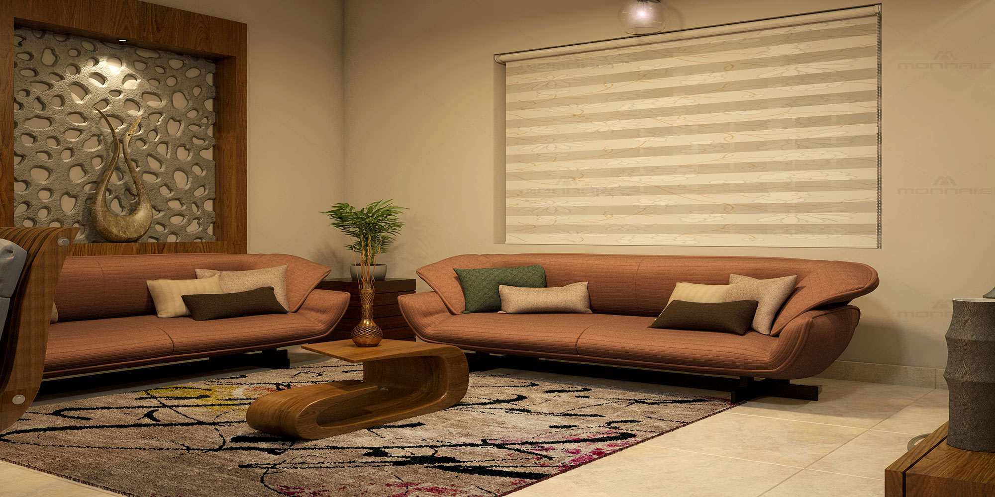 Living room interiors in Cochin