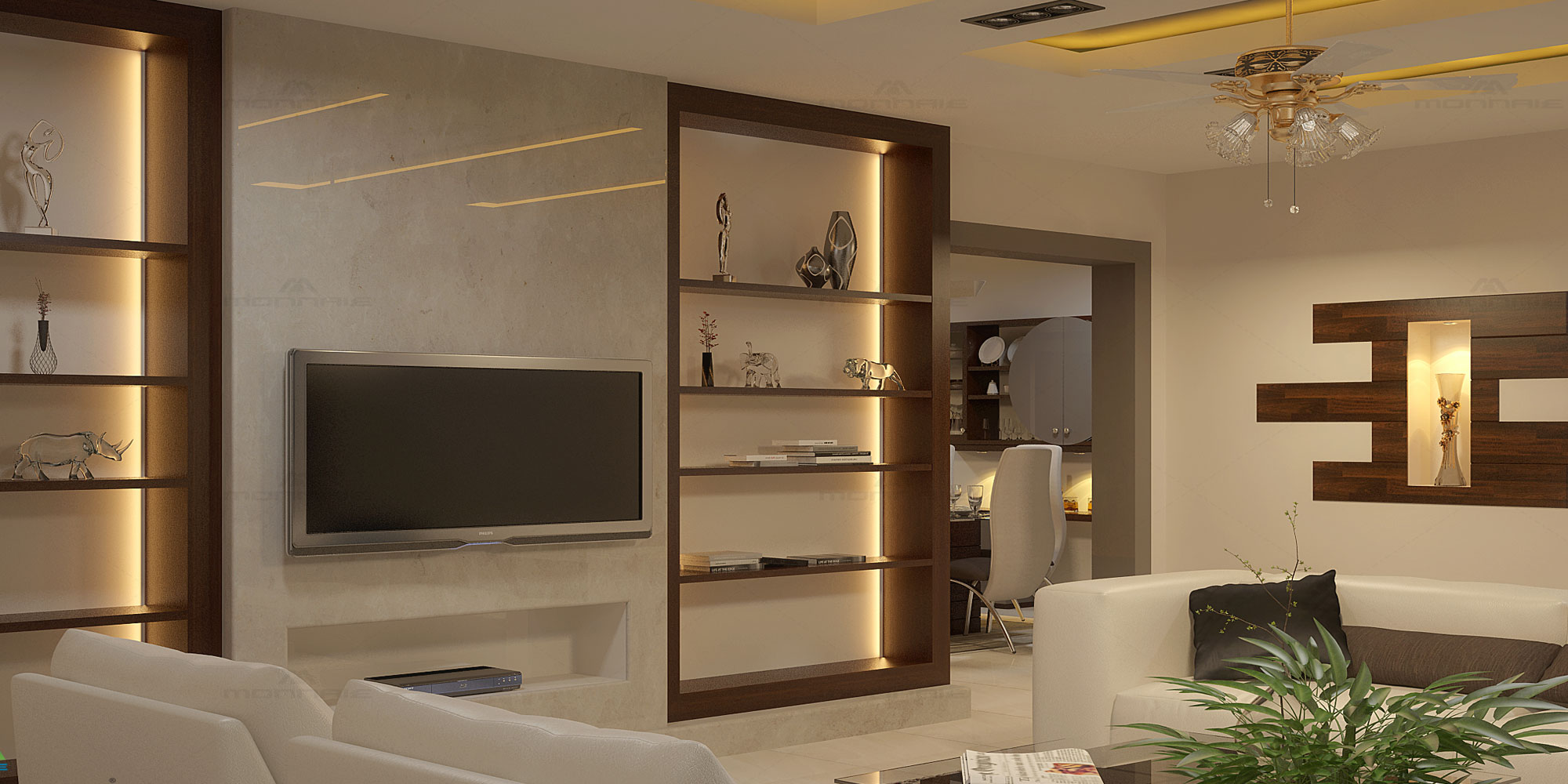 Living room interiors in Kottayam - Monnaie Architects & Interiors