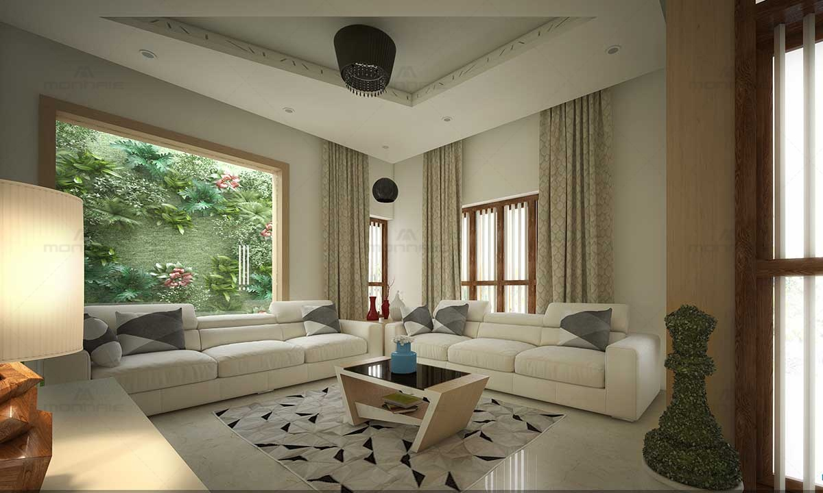 Living Room White Theme & Furnitures - Architects In Kerala