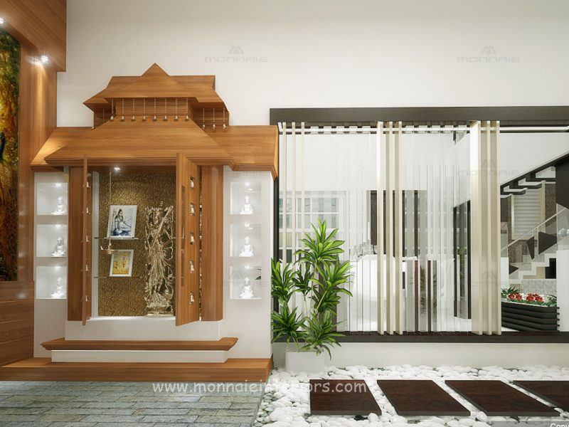 Pooja room interior designers in Kochi, Kerala - Monnaie Architects & Interiors