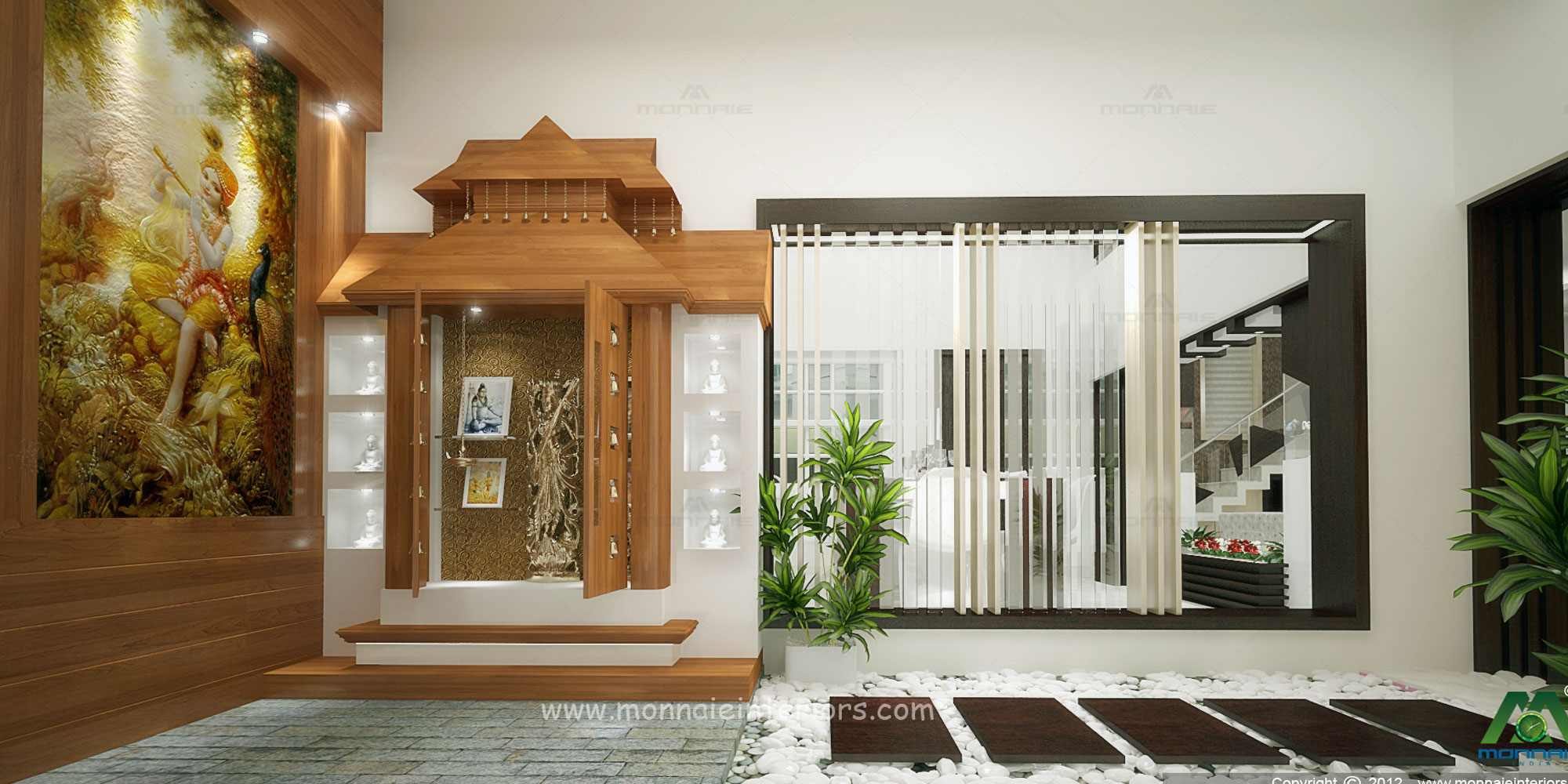 Pooja Room Interior In Kochi Kerala Monnaie Architects Interiors