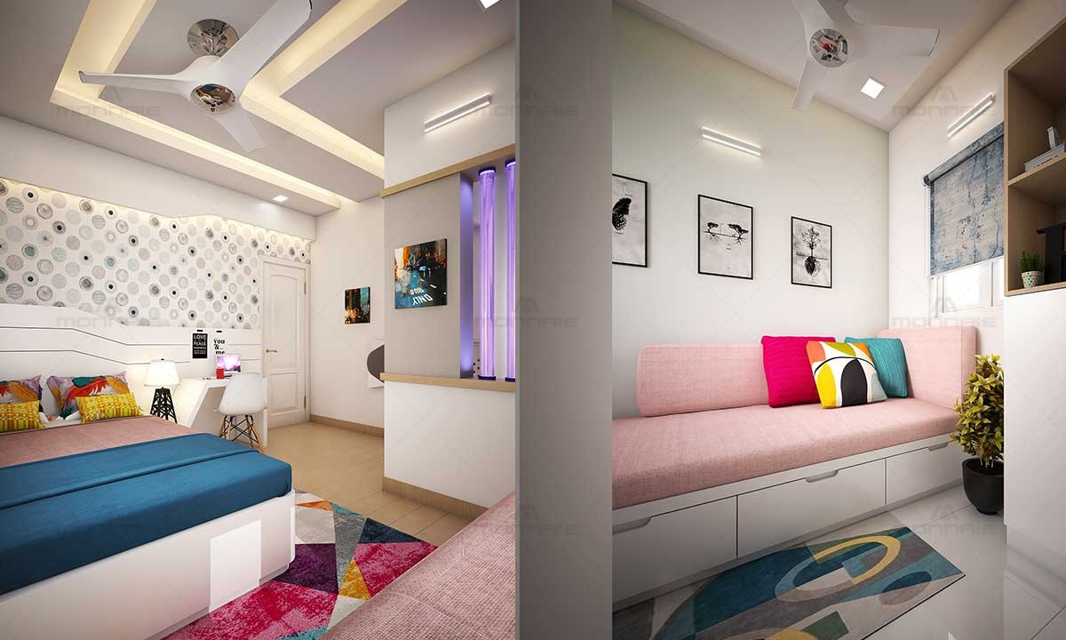 Space Saving Bedroom Interiors & False Celing Designs