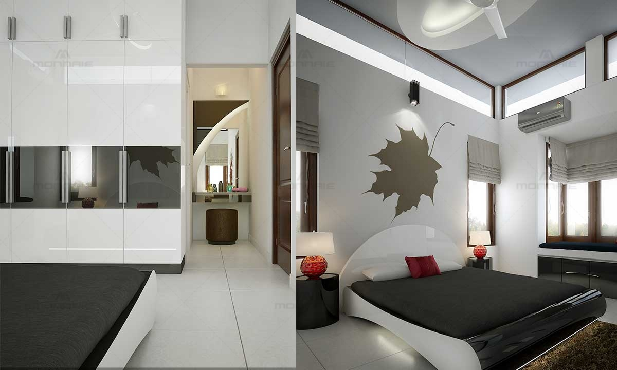 White Themed Bedroom Interiors & Wall Design