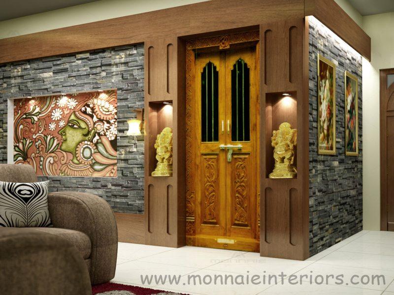 Kerala style pooja room interior designs