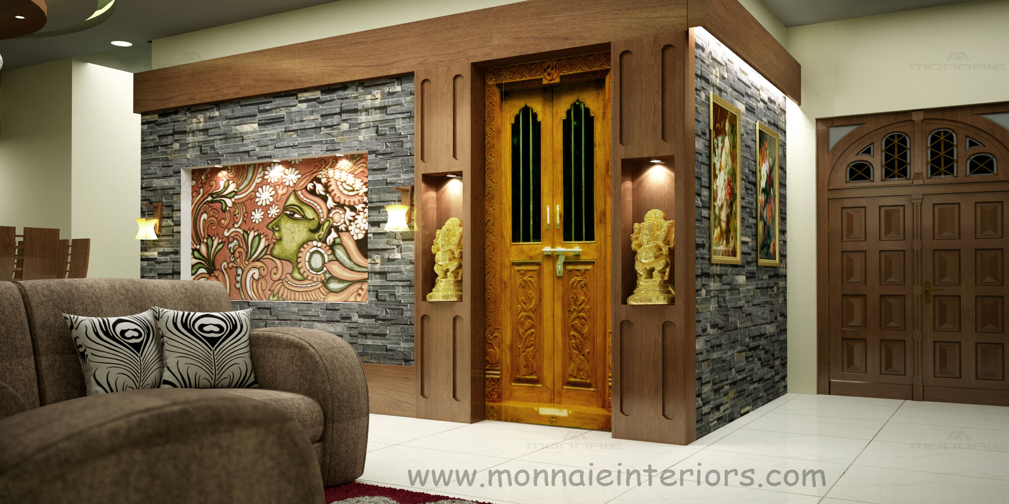 Kerala style pooja room interior designs